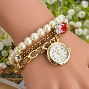 Accessories - Artificial Pearl Rhinestone Bracelet Watch
